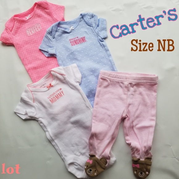 ac91158ae Carter's One Pieces | Carters Baby Girl Lot 4 Pcs Bodysuit Size Nb ...